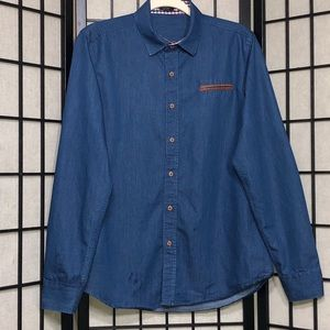 COOFANDY Chambray button down shirt Faux Leather